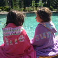 Girls Personalized Hooded Towel Pink with pink and green chevron fabric Beach Pool Bath Towel Girls Kids Children Gift