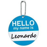 Leonardo Hello My Name Is Round ID Card Luggage Tag