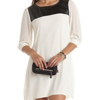 Faux Leather Trim Shift Dress by Charlotte Russe - Black/Ivory