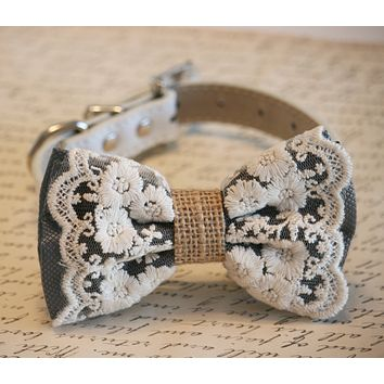 Charcoal Dog Bow Tie, Lace and Burlap, Rustic Charcoal wedding pet collar