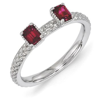 Sterling Silver Stackable Created Ruby Octagon Two Stone Ring