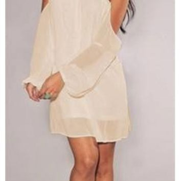 Ivory Cream Chiffon Off Shoulder Shift Dress Long Sleeve Loose Flowy Boho