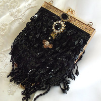 Black evening bag beaded gold trim with by HopscotchCouture