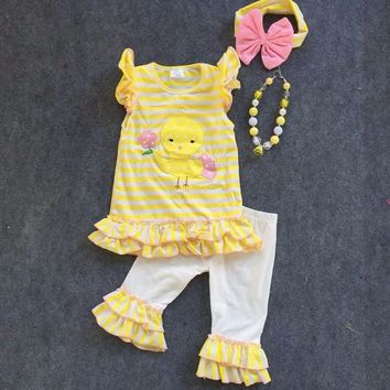 Girls Easter Tutu Chick Yellow White Spring Capri Boutique Outfit