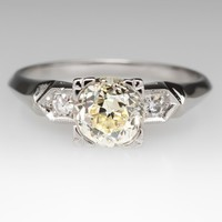 Vintage Engagement Ring w/ Old Miner Diamond Platinum