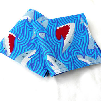Great White Shark Double Sided Lunch Cloth Napkins -Set of 2 Shark Napkins