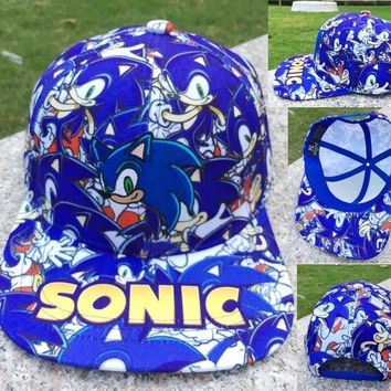 Trendy Winter Jacket Anime Sonic the Hedgehog Cartoon Baseball Hat Adult Boys Girls Hip Hop Adjustable Cotton Snapback Caps Cosplay Accessories AT_92_12