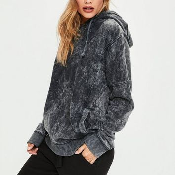 Missguided - Grey Washed Hoodie