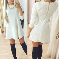 White Long Sleeve Back Zippered Dress