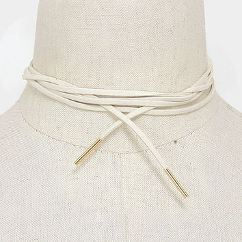 Long Gold & Ivory Suede Tie Choker Necklace