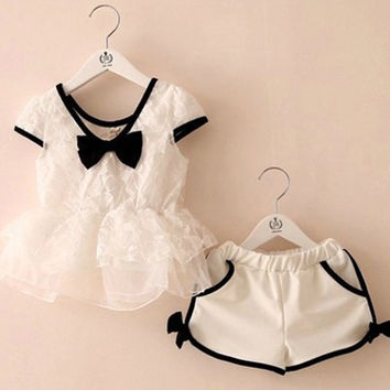 Baby Girl Bow Knot White Top and Shorts 2 PC Set