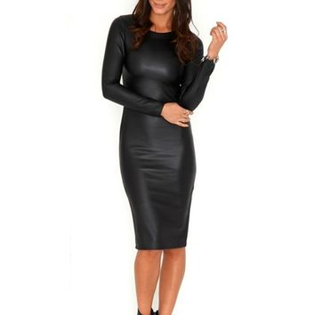 summer Women Casual Fashion Leather Dress slim fit Black Dress long Sleeve Dress Elegant Autumn Work Pencil PU Vestido