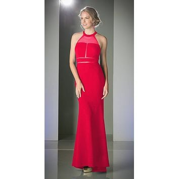 Illusion Long Prom Evening Dress Red Panel Front Halter