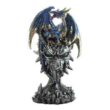 Blue Dragon Warrior Statue
