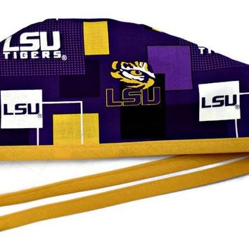 Men's Unlined Surgical Scrub Hat Cap in LSU Tigers New Block