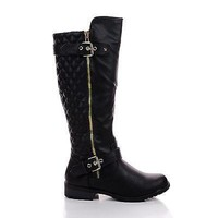 Mango21 Black Pu By Forever, Knee High Quilted Buckle Riding Moto Boots