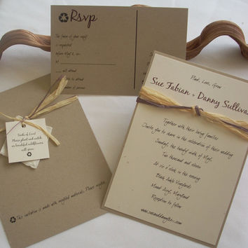 Please Recycle Wedding Invitation Set of 75 Taupe Cream invite earth friendly recycled plantable paper invitation recycled invitations eco