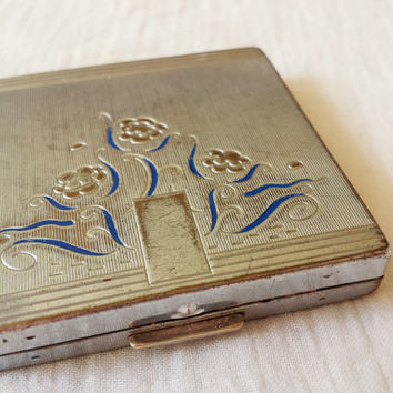 1940s Art Deco Vintage Compact / Bourgois New York / 40s Compact / Vintage Compact / Vintage Makeup / Mirrored Compact / Mirror Compact /