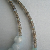 Aquamarine and Labradorite on Goldplated Chain Necklace