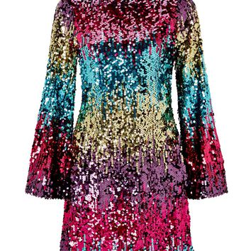 PREMIUM Ombre Flute Sleeve Shift Dress - Party Wear - Clothing