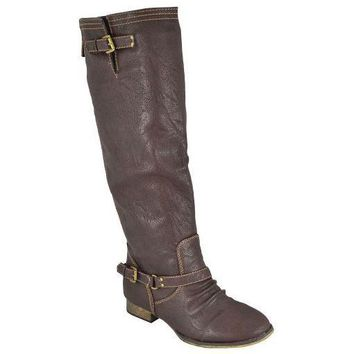 Women's Breckelle's Knee High Riding Boots Outlaw-11 Brown