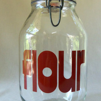 Retro Jar Canister 1970's Flour Typography