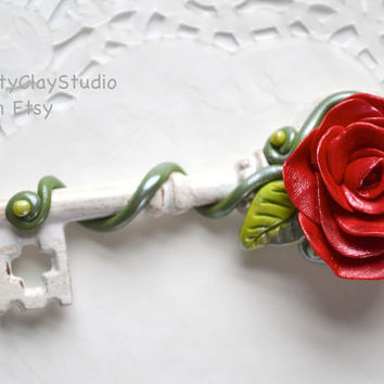 Mother's Day Gift - Bridesmaid Gift - Wedding Favor - Polymer Clay Decor - Key Decor - Spring Decor - Flower Decor - Polymer Clay Flower