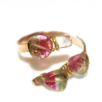 Watermelon Tourmaline Slice Ring Tourmaline Ring Gold Ring Adjustable Ring Watermelon Tourmaline Slice Tourmaline Jewelry Delicate Ring