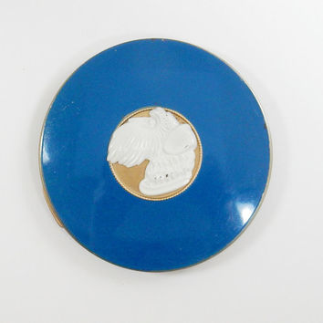 Vanity Powder Compact, Rex Fifth Avenue, Scotty Dog Compact, Blue Enamel Compact, 1940s Powder Compact, Cameo Compact, Brass Compact