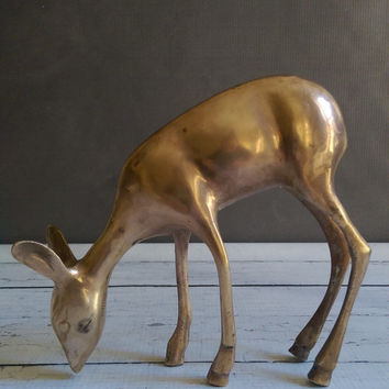 Vintage Brass Deer/ Large Bras Deer Figurine/ Brass Animal/ Vintage Brass Decor/ Mid Century Brass Deer