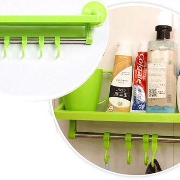 New Suction Cups Kitchen & Bathroom Sucker Shelf Storage Rack Hanging Towel Holder