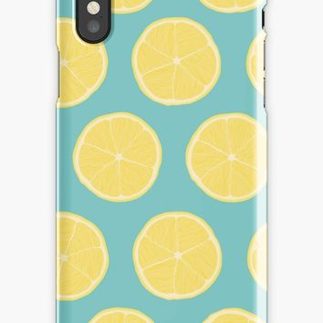 'Lemon Zest Aqua Sky' iPhone Case by designsbyrjones