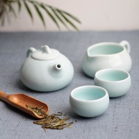 DCCKL6D Kung Fu 4 PC Tea Set Chinese Travel Ceramic Portable Gift Box Celadon  Teacup Teapot Tea cup Tea Sets