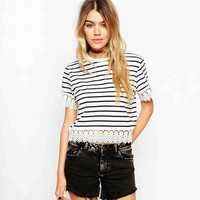 Stripe Lace Short-Sleeve Tank