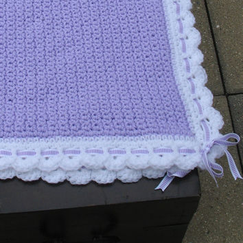 Handmade Crocheted Heirloom Baby Blanket, Lavender w/ White Border, White Ribbon w/ Lavender Decoration, Ready to Ship