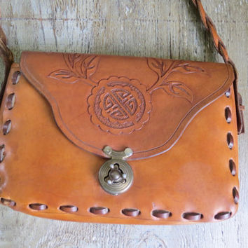 1970's Leather Boho Hippie Purse Bag tooled leather Asian inspired.
