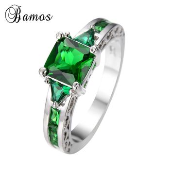 Hot sell Green Anel Zircon White Gold Filled Jewelry Engagement/Wedding/party rings for women Bague Femme RW0065