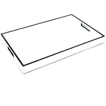 White Lacquer with Black Trim Tray | 22 x 14