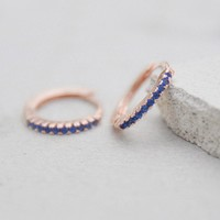 Mini Ear Huggies - Rose Gold + Blue