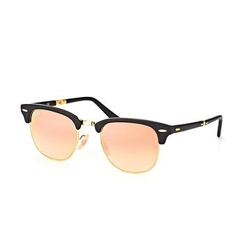 Ray Ban Clubmaster Folding Sunglass Matte Black with Rose Gold Flash Mirror Gradient L