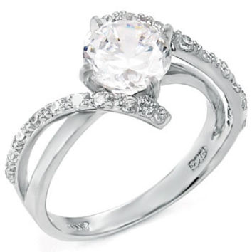 Sterling Silver 2 carat Floating Round Cut CZ Engagement Ring Size 5-9