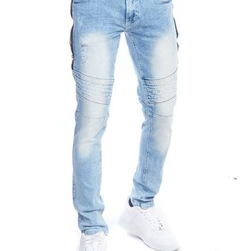 Mens Biker Distressed Side Zipper Skinny Fit Washed Denim Jeans