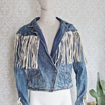 Vintage 1980s Acid Wash Denim + Leather Fringe Jacket