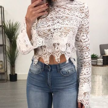 New sexy openwork lace lace navel short jacket female summer T-shirt hot