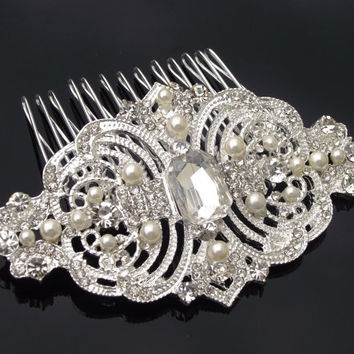 Handmade Ivory Pearl & Rhinestone Comb, Vintage Style Bridal Hair Comb, Statement Bridal Headpiece, Victorian Wedding Hair Comb, SYDNEY.