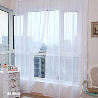 New Fashion Candy Color Window Screening Blinds Sheer Voile Gauze Curtain for Cafe Kitchen Living Room Balcony Decor#229315