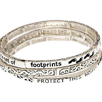 Footprints Poem w Protect This Woman Phrase Engraved Stretch Bangle Bracelets 3 pieces Set Filigree