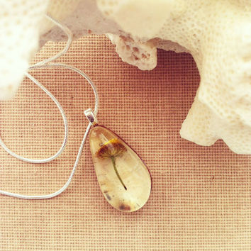 Real Birch Bark and Dried Flower Pendant Resin Jewelry Nature Inspired Jewelry Woodland Rustic Wedding OOAK
