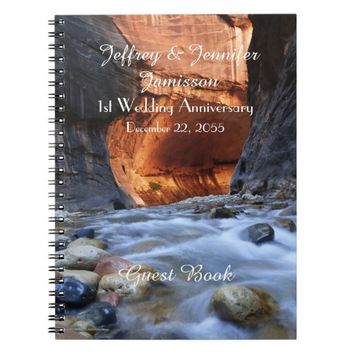 1st Anniversary Party Guest Book, Zion Narrows Notebook