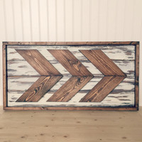 Rustic Framed Wood Chevron Wall Hanging - Chevron - Rustic Decor - Farmhouse Decor